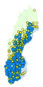 Fyndbilden i Sverige. Data från Artportalen.