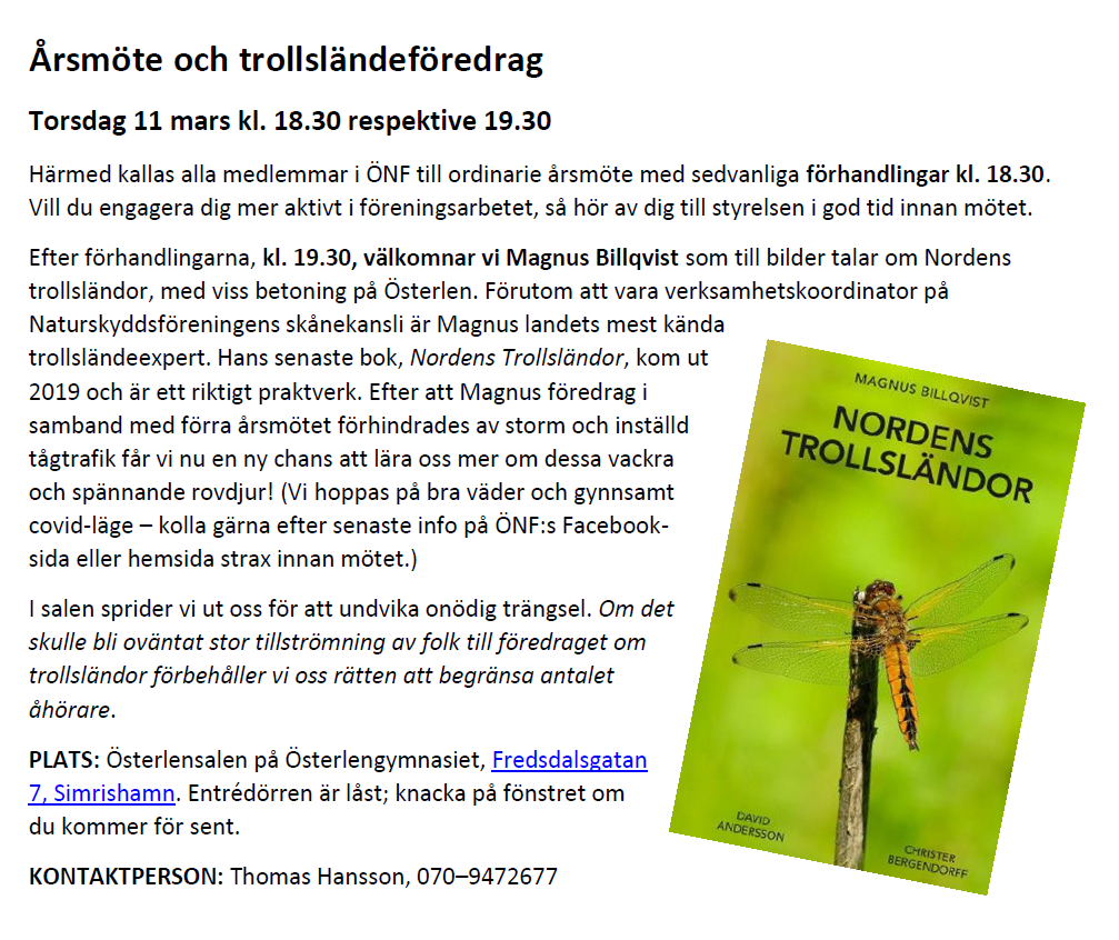 Trollsländor: INSTÄLLD @ Österlensalen på Österlengymnasiet